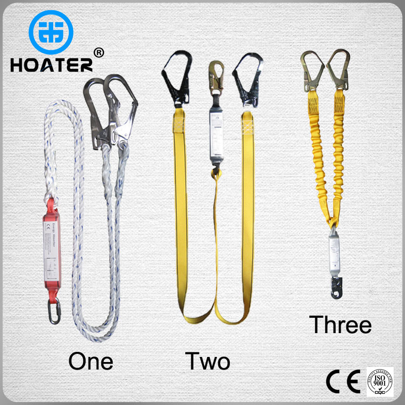 High Quality Safety Harness Double Hook Lanyard with Shock Absorber