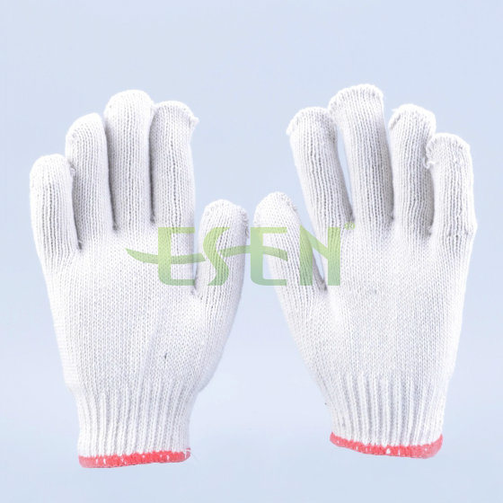 7/10 Gauge White Knitted Cotton Gloves Manufacturer in China/Hand Gloves for Worker