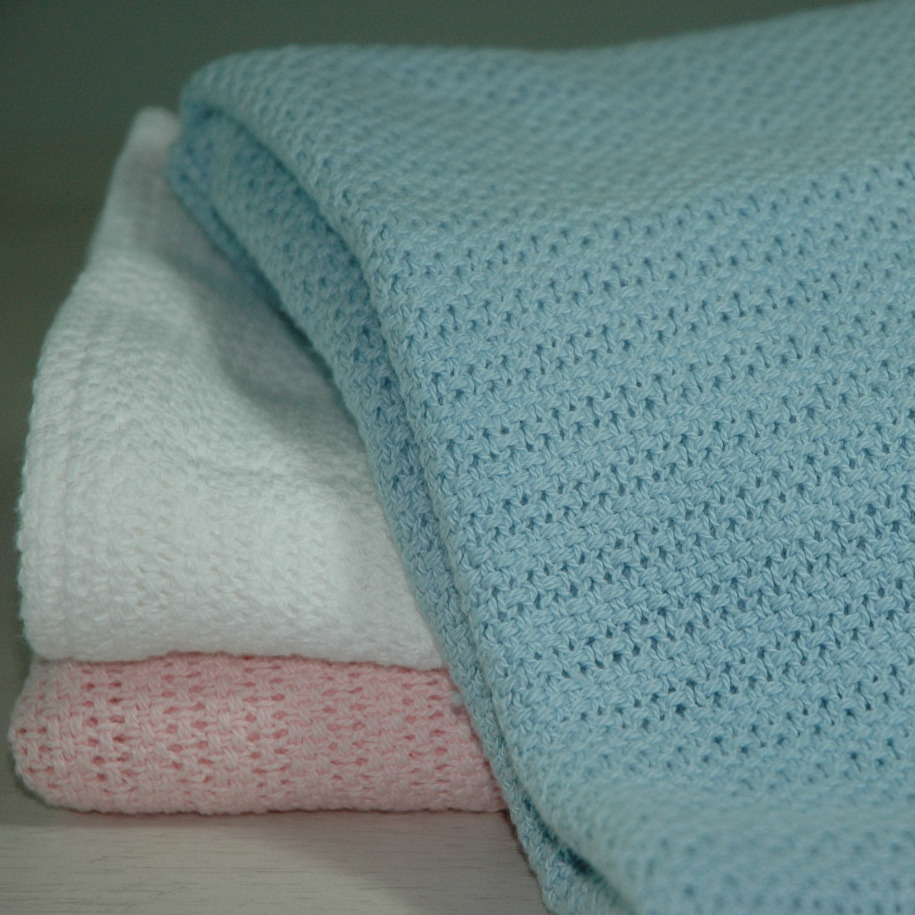 Soft 100% Ring Spun Cotton Cellular Baby Blanket