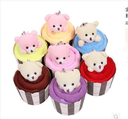 Wholease Cake Towels Cotton Birthday Bear Compressed Towel Gift Towel