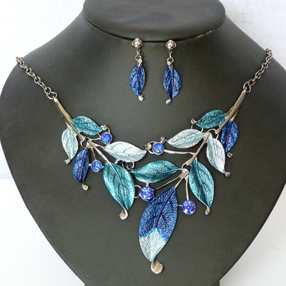 Fashion Leaves Diamond Statement Choker Necklace Earring Set Jewelry