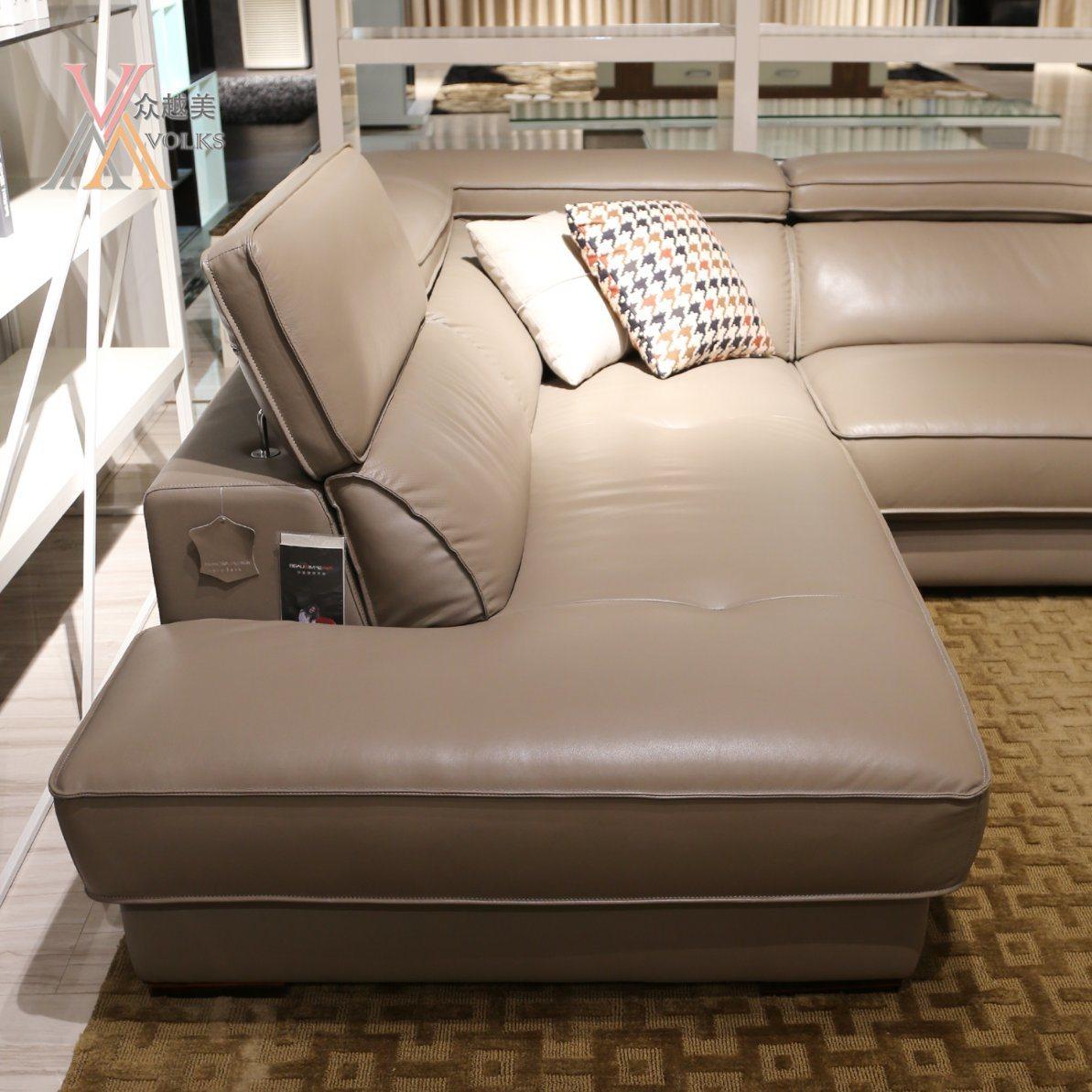 Modern Grey Leather Sofa with Corner (JM-1631A)