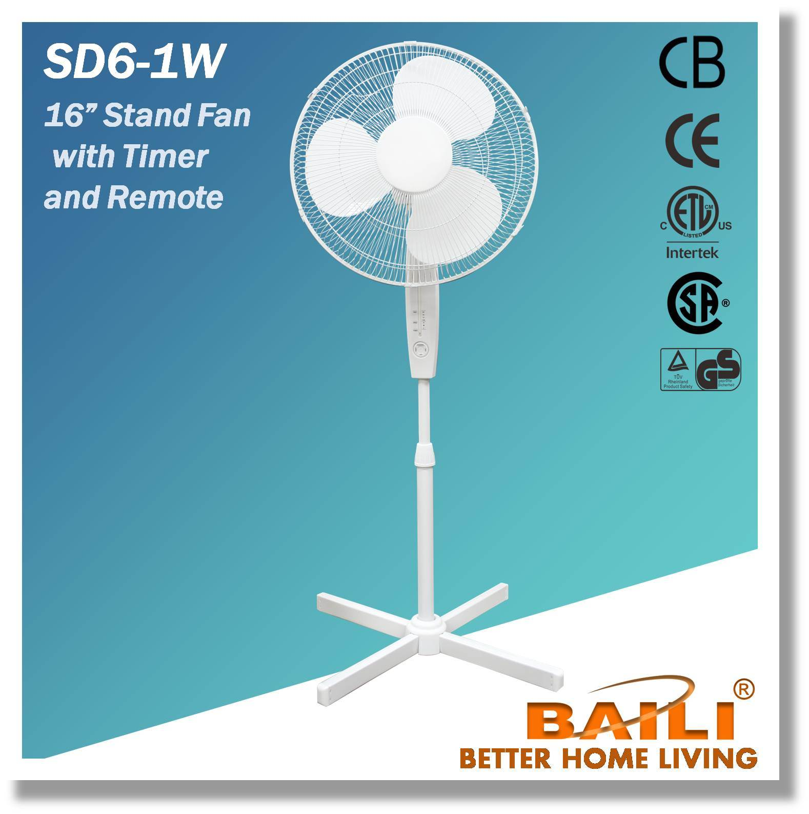 """High Quality 16"""" Oscillating Stand Fan with Remote and Timer"""