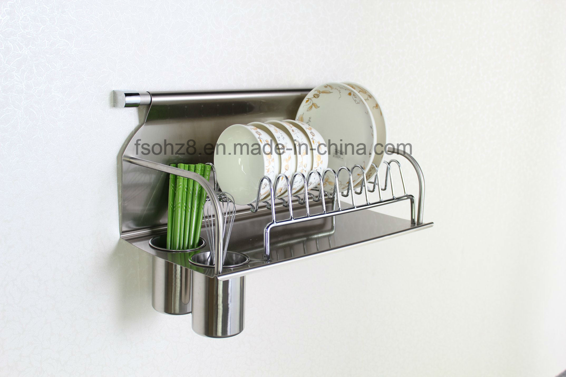 Stainless Dish Drying Rack with Chopsticks Bottle Kitchen Accessories (604)