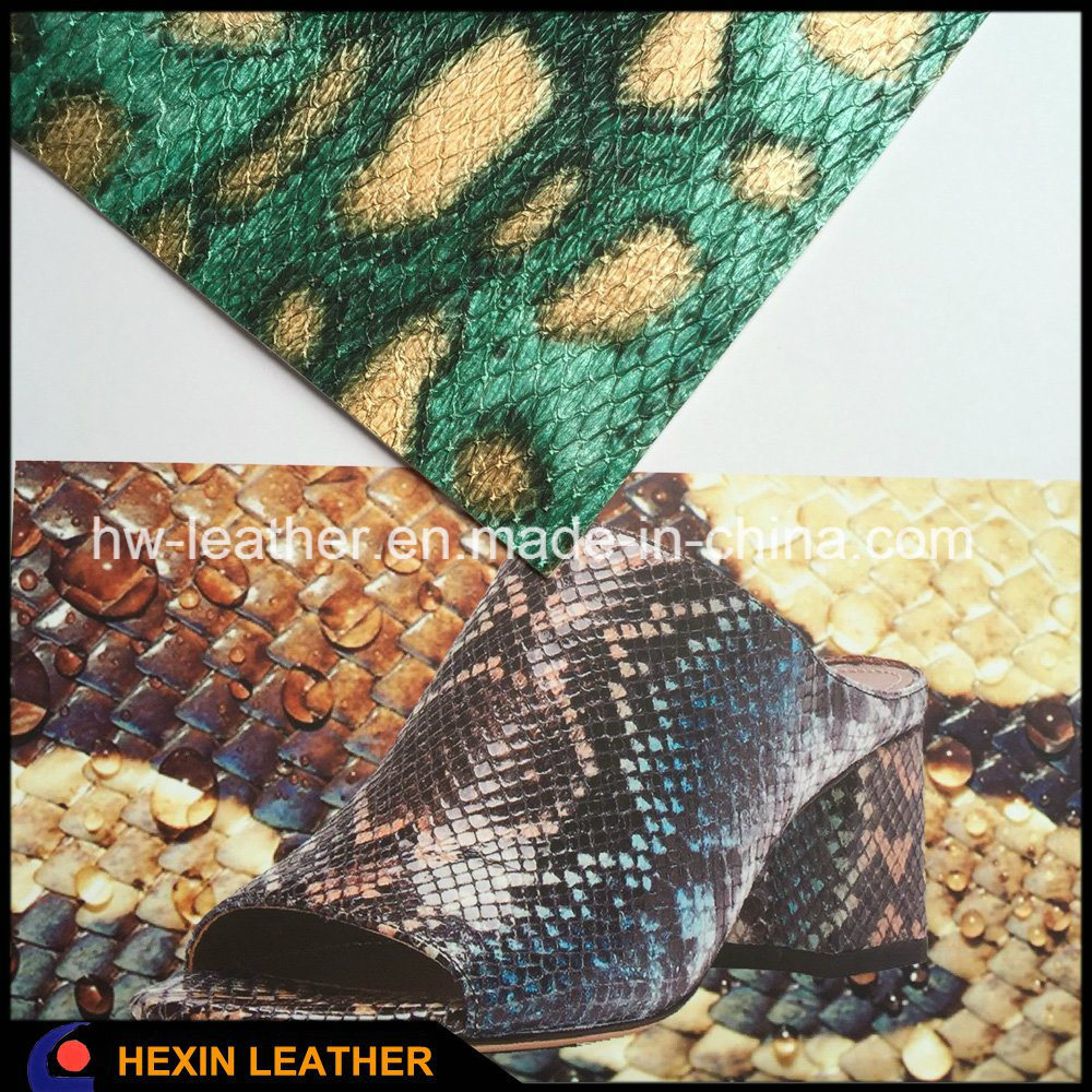 Snake Python Belly Grain Synthetic PU Leather for Shoes Hx-S1715