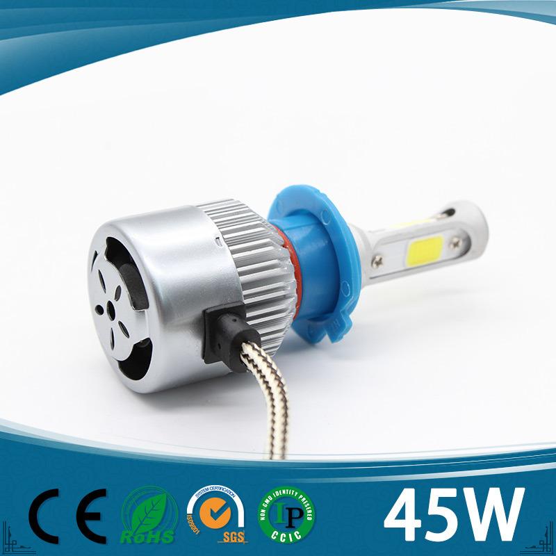 Three Sides Auto Headlight 9005 9006 H7 Hb3 Fog Driving Head Lights, 45W 12V H8 H9 H11 Car LED Headlight
