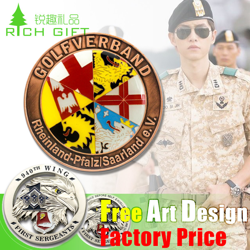 Custom Metal Souvenir/Plastic/Military/Trolley/Token/Police/Double/24k 3D Gold/Silver/Challenge Coin Maker No Minimum