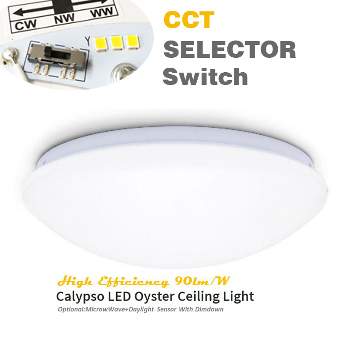 SAA Approval 3 White Output Via The Selector Switch IP44 20W Pre-Set CCT LED Oyster Ceiling Light
