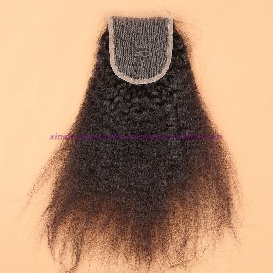 Malaysian Kinky Straight Lace Closure with Baby Hair 4X4 Coarse Yaki Lace Closure