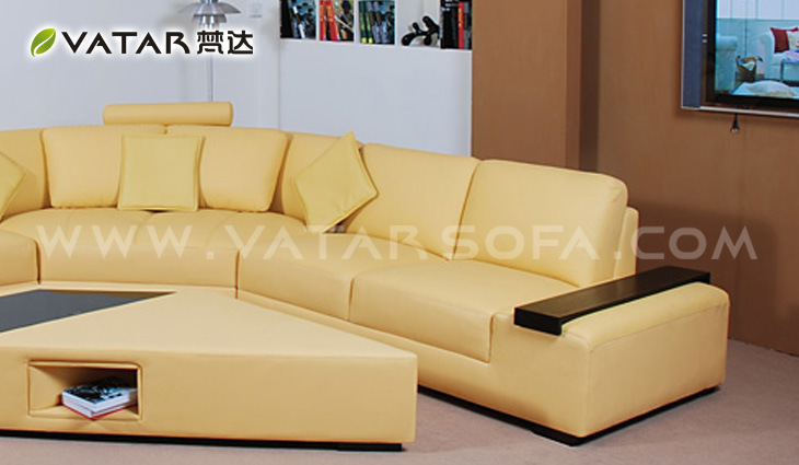 China Leather Sofa Live Leather Color Yellow China