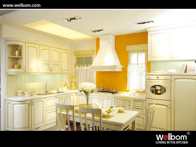 China Beige Color Solid Wood Kitchen Cabinet Design Photos Pictures Made In