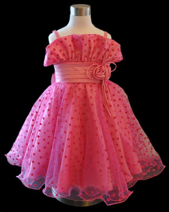 Red Polka Wedding Flower Girl Dress Gown