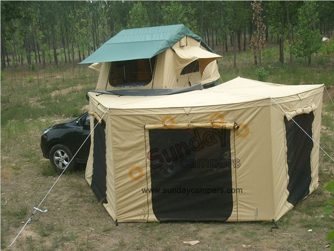 voiture roof top tent avec awning rv top tent caravans roof tent folding tent camping tent. Black Bedroom Furniture Sets. Home Design Ideas