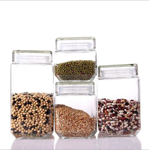 4PCS Square Glass Storage Jar Set with Glass Lid