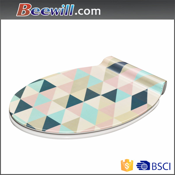 Decorative Sanitary, Printed Toilet Seat with Soft Closing Hinges