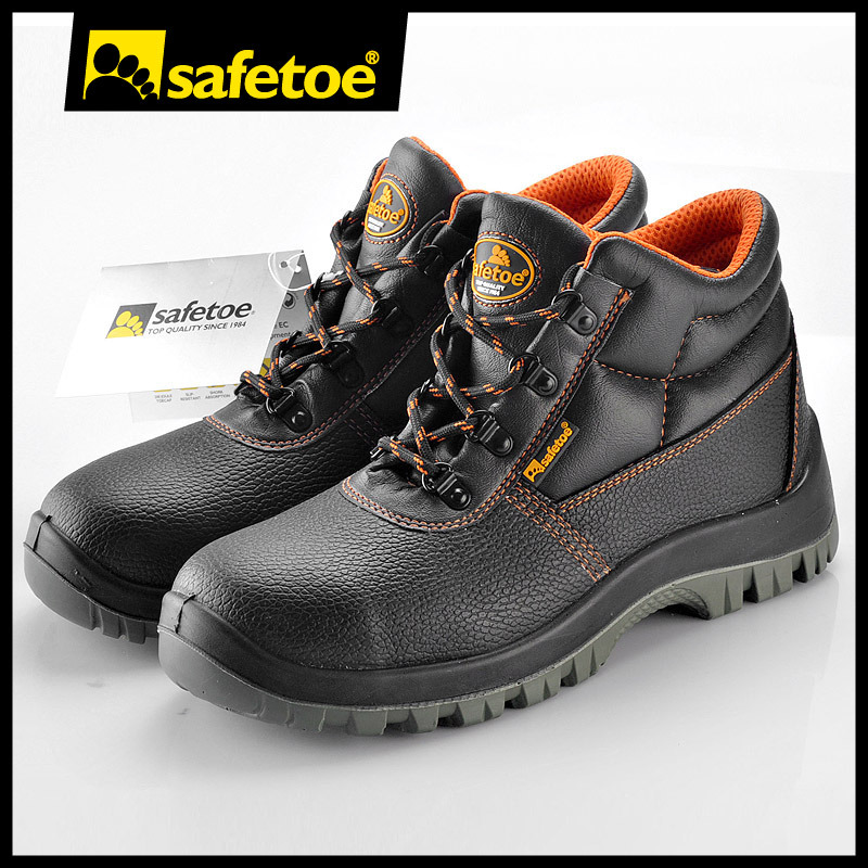 2017 Best Selling Leather Safety Shoes Boots with Steel Toe Cap