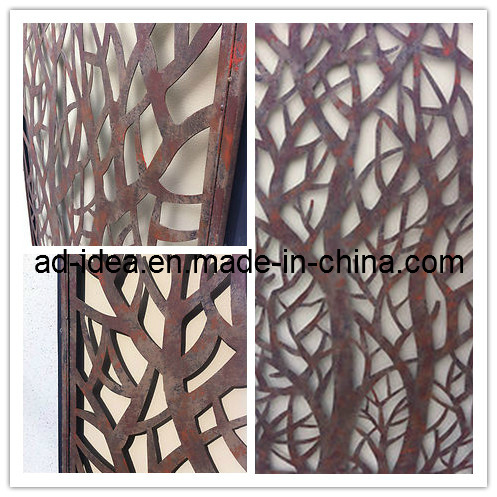 China Metal Laser Cut Rust Look Art Trees Feature Wall