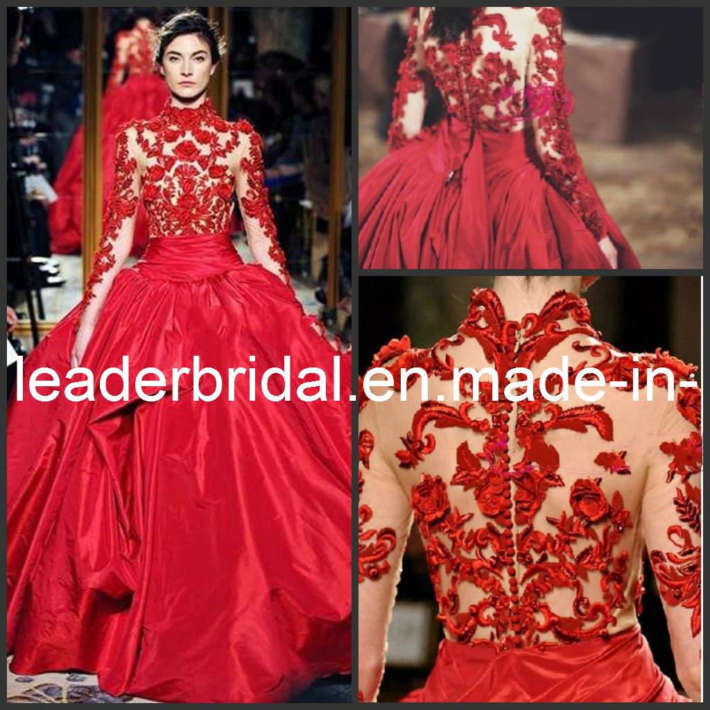 Red Accent Zuhairmurad Choker Neck Long Sleeves Bridal Ball Gown W13119