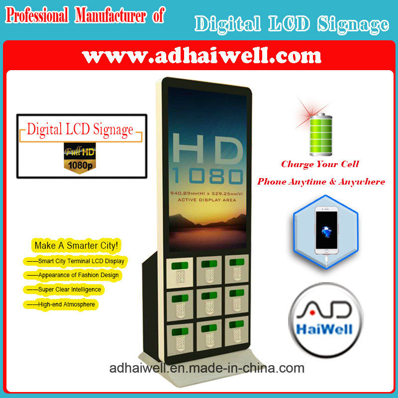 "42"" Advertising LCD Digital Signage Electronic Lockers Mfi Cable Mobile Charging Station"
