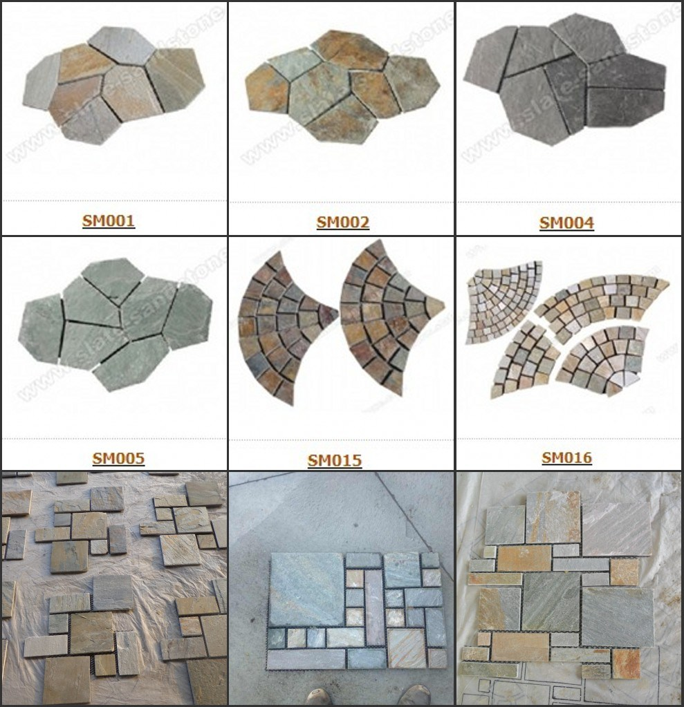 Back Mesh Slate Tile-Iregular Slate Crazy Paving Flagstone