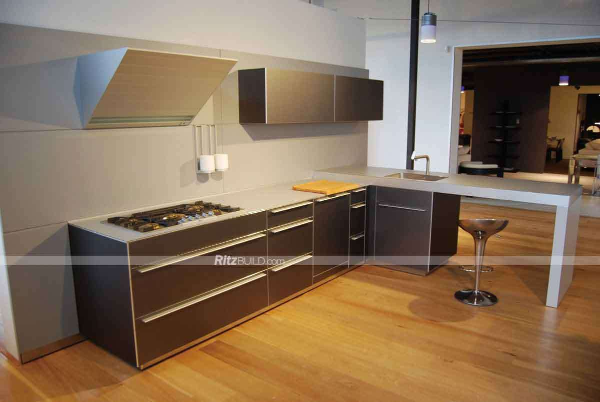 Made In China Kitchen Cabinets China Home Furniture Champagne Color Customized Made Pvc Kitchen
