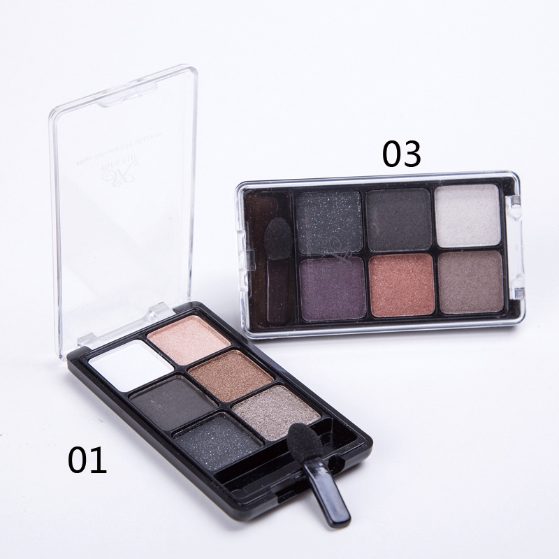 Professional 6 Color Glitter Waterproof Mineral Eyeshadow Palette Es0310