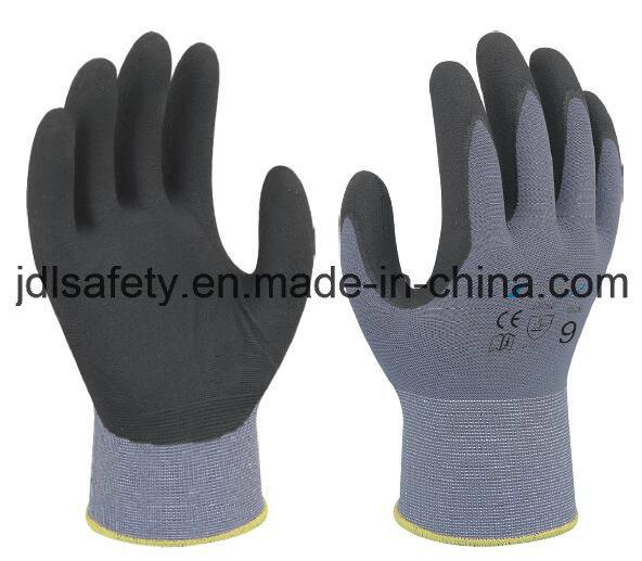 Nylon Work Glove with Superfine Foam Nitrile Dipping (N1554)
