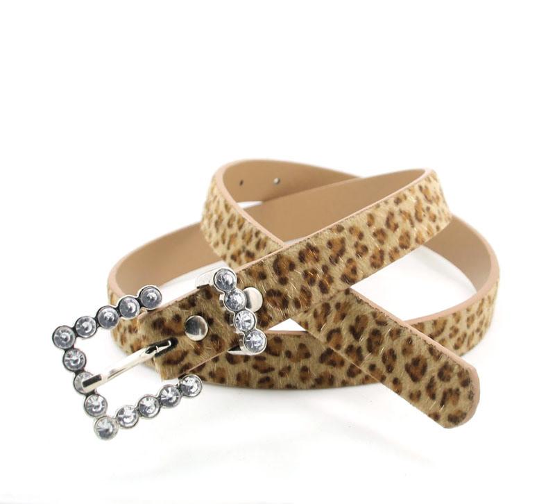 False Diamond Buckle with Leopard Design Belt Ky5851