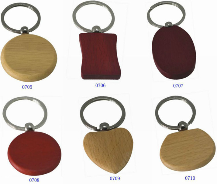 Addable Logo Wood Carving Keychains for Ad Promotions