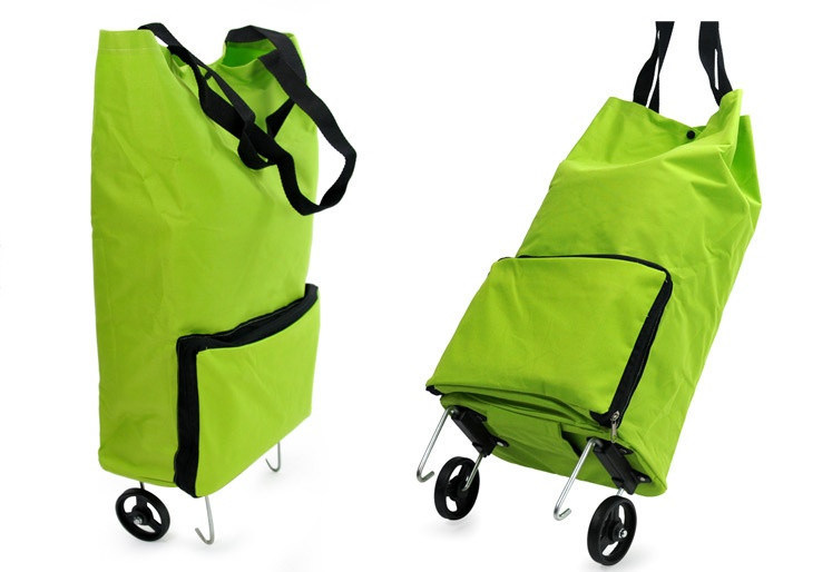 Foldable & Reusable Shopping Trolley Bag with Two Wheeled