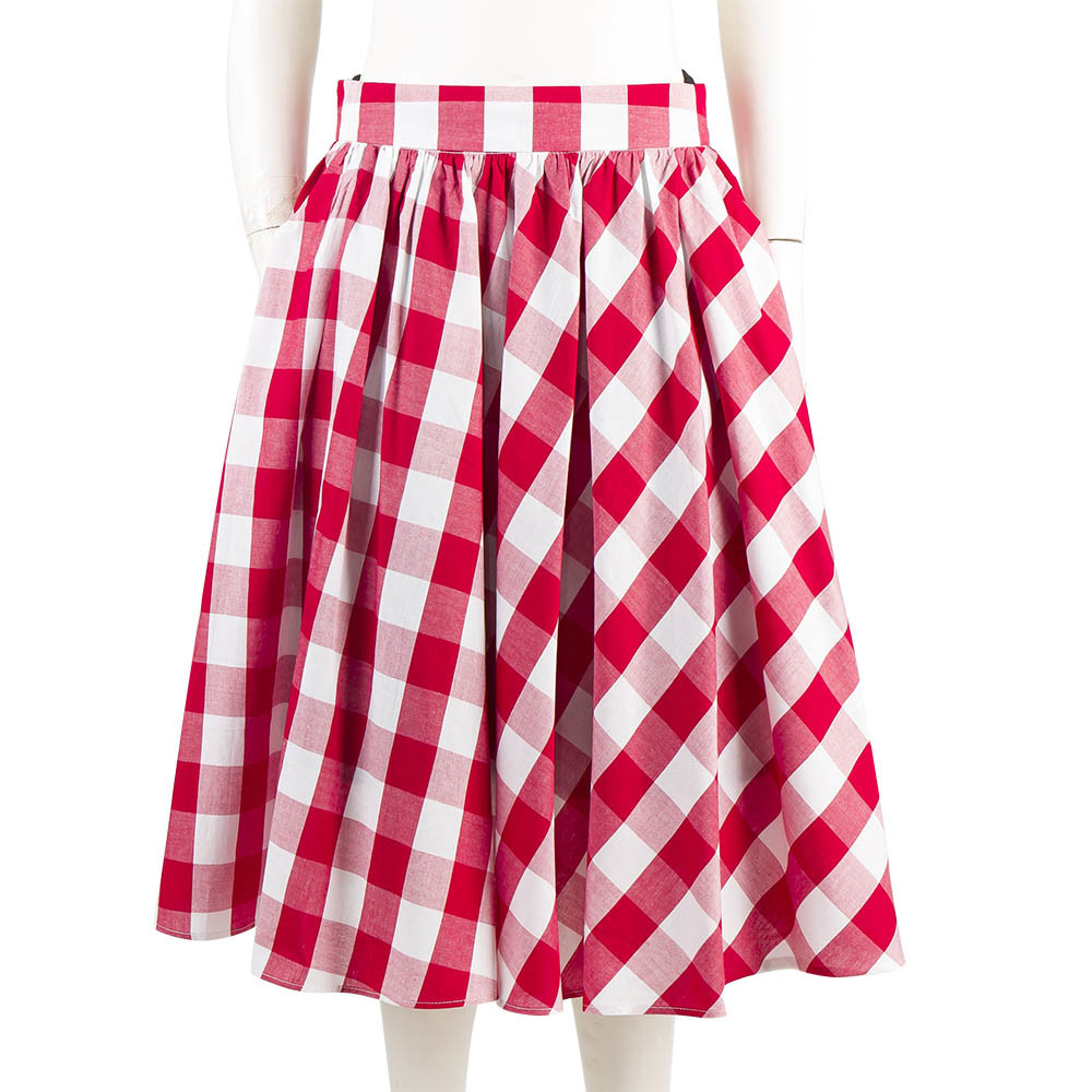 Latest Women Skirts Black and White Plain Plaid Maxi Umbrella Skirts