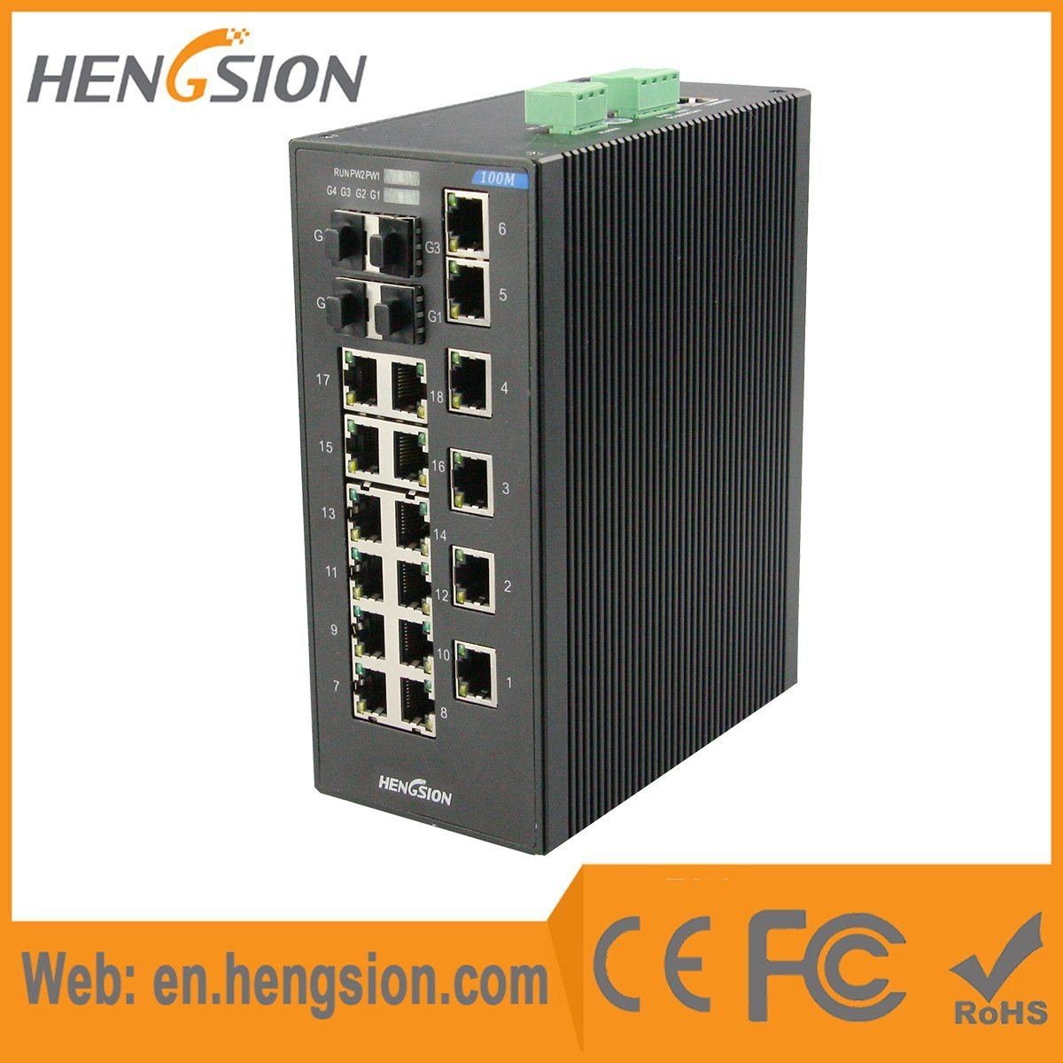 18 Port Industrial Ethernet Network Switch with 4 Gigabit Combo
