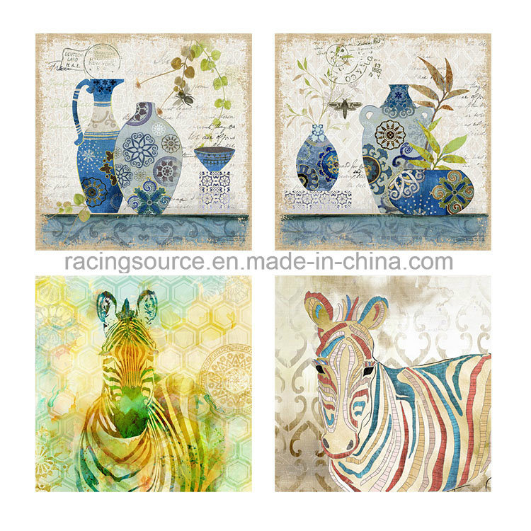 Animal Streched Hand-Painted Oil Canvas Painting for Home Decor