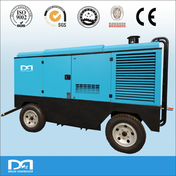 4wheels Diesel Engine High Pressure Portable Rotary Screw Air Compressor Made in China