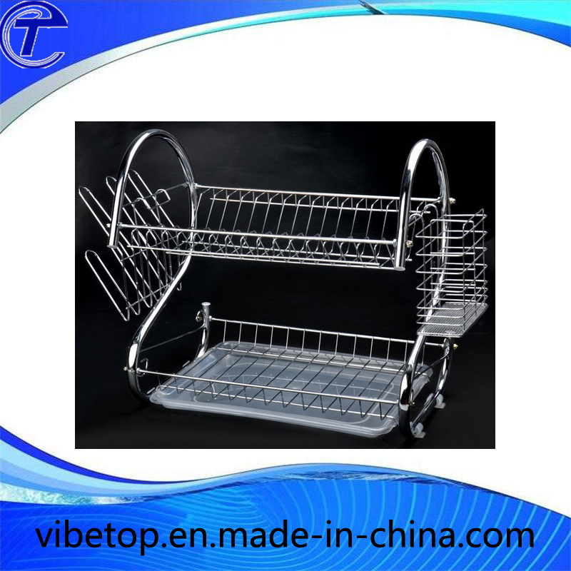 2 Tiers Dish Drying Kitchen Rack with Tray