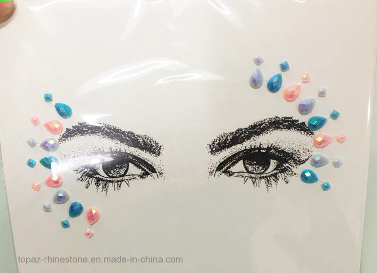 2017 New Eyebrow Rhinestone Sticker Head Crystal Rhinestone Sticker Eyeliner Tattoo Acrylic Sticker (TS-512)