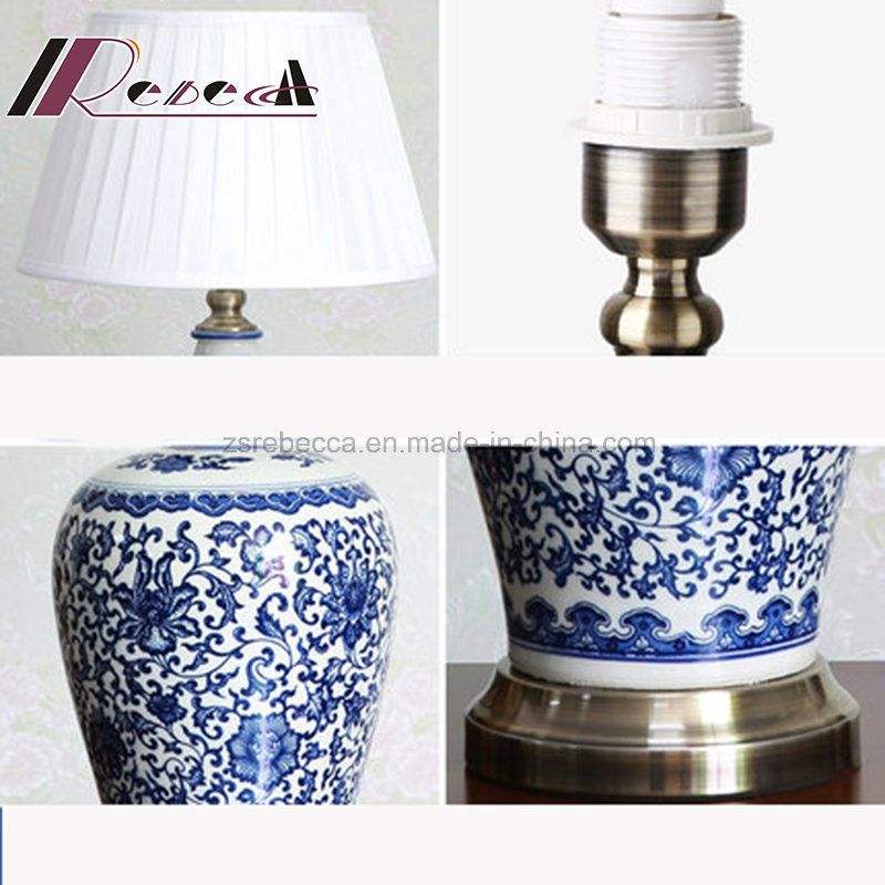 Blue and White Porcelain Ceramics Body Fabic Shade Table Lamp