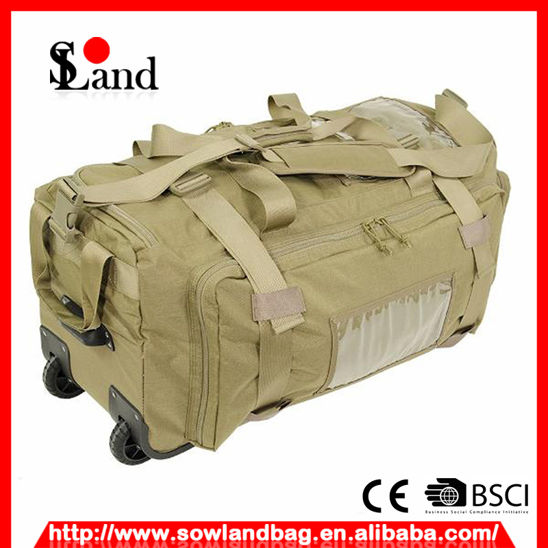 Tan Cordura Fabric Military Trolley Bag