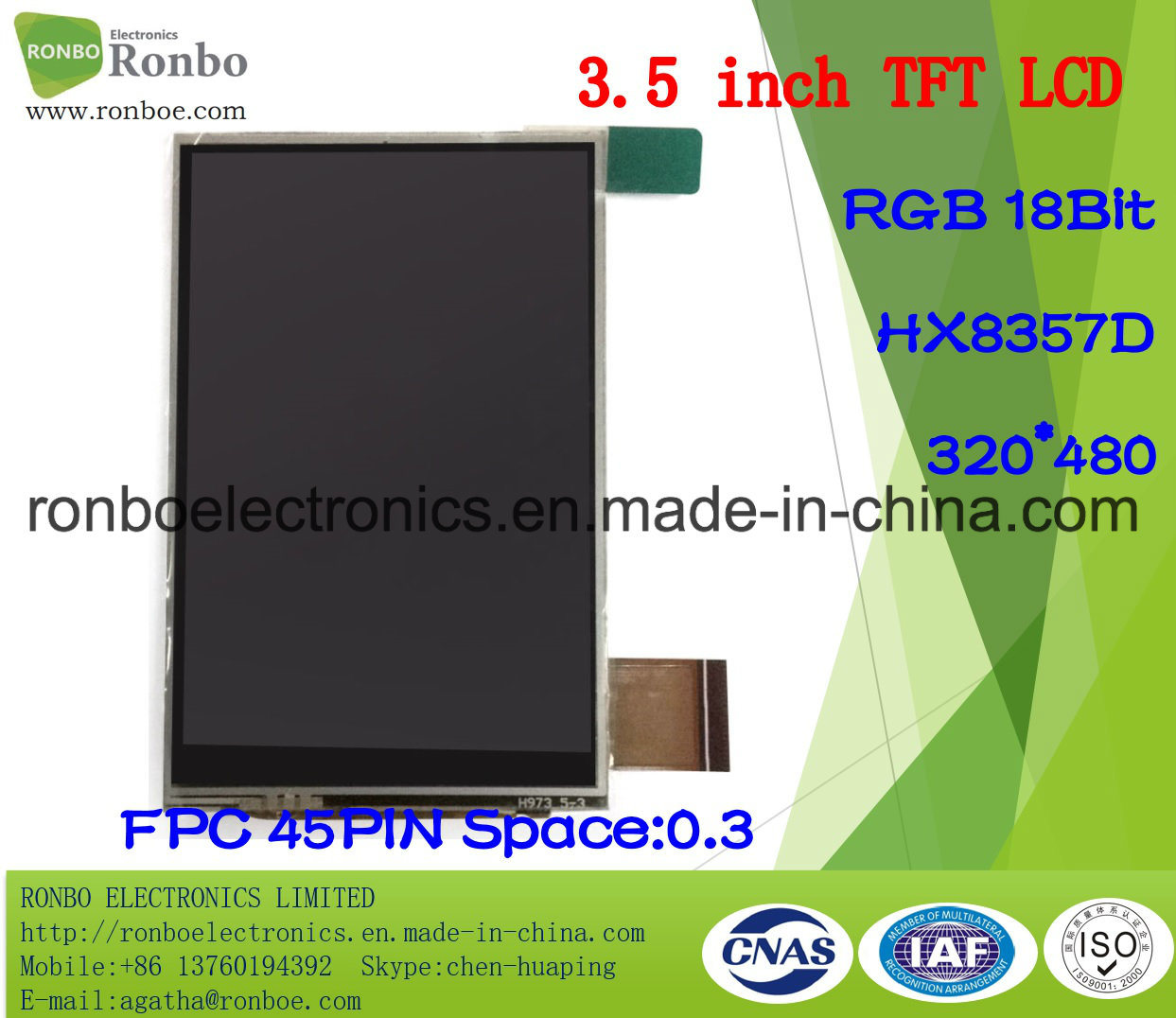 "3.5"" 320X480 RGB 18bit 45pin TFT LCD Screen with Touch Panel"