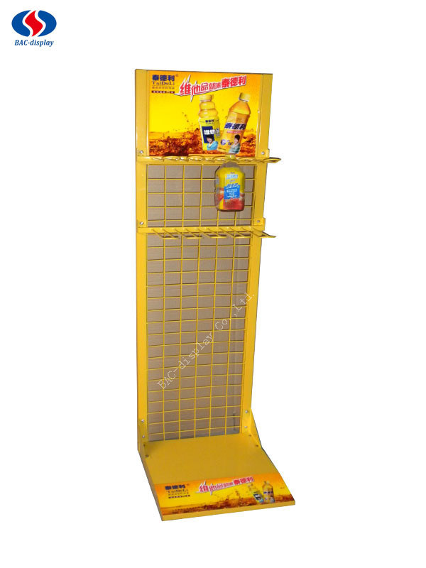 Retail Store Metal Beverage Display Racks / Drink Display Stand / Juice Display Shelf