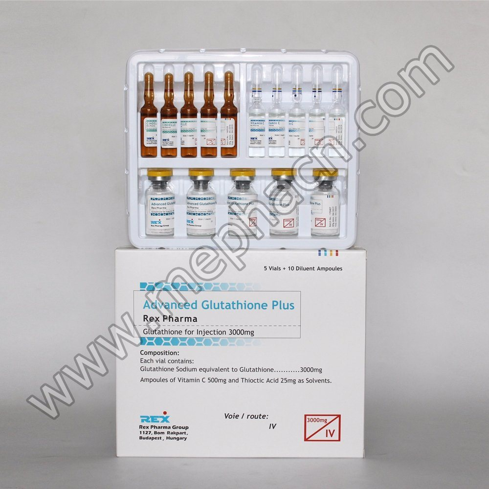 Rex Glutathione Injection for Skin Whitening and Beauty 1500mg 5+10