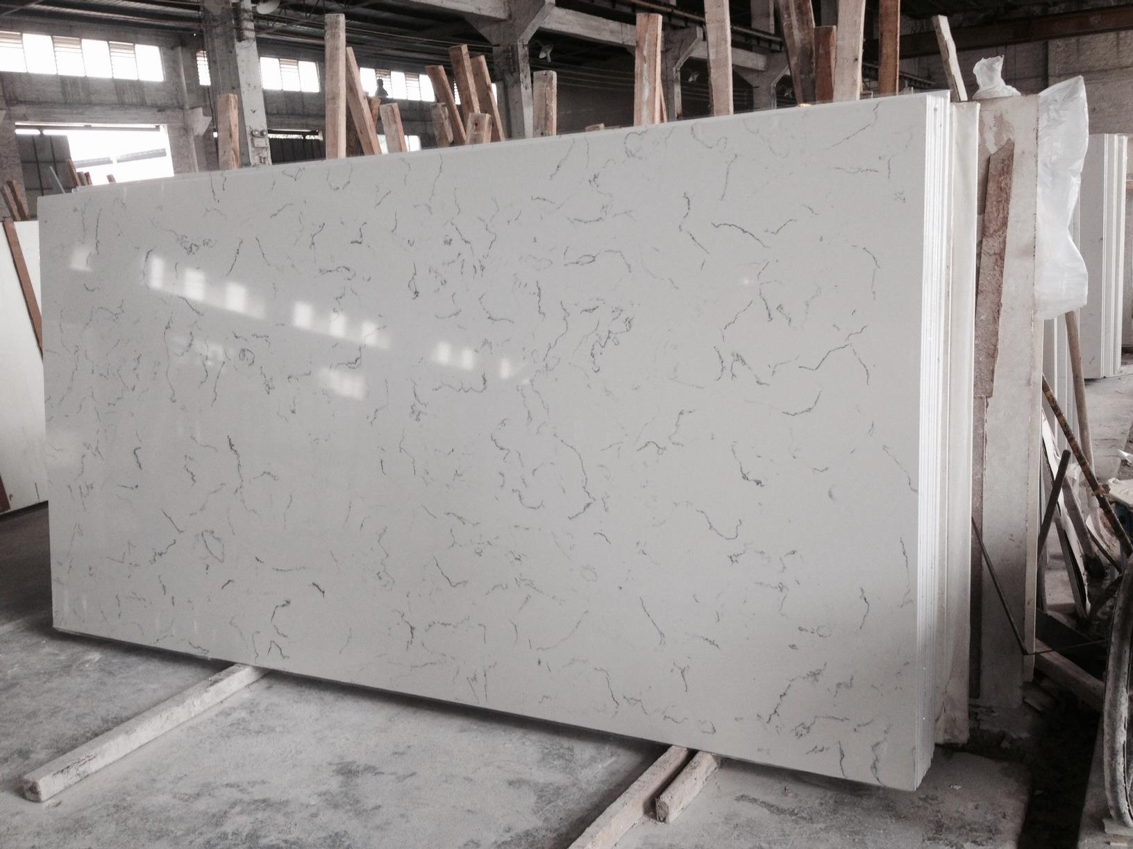 Artificial Engineered Stone Carrara White Quartz for Kitchen Countertops