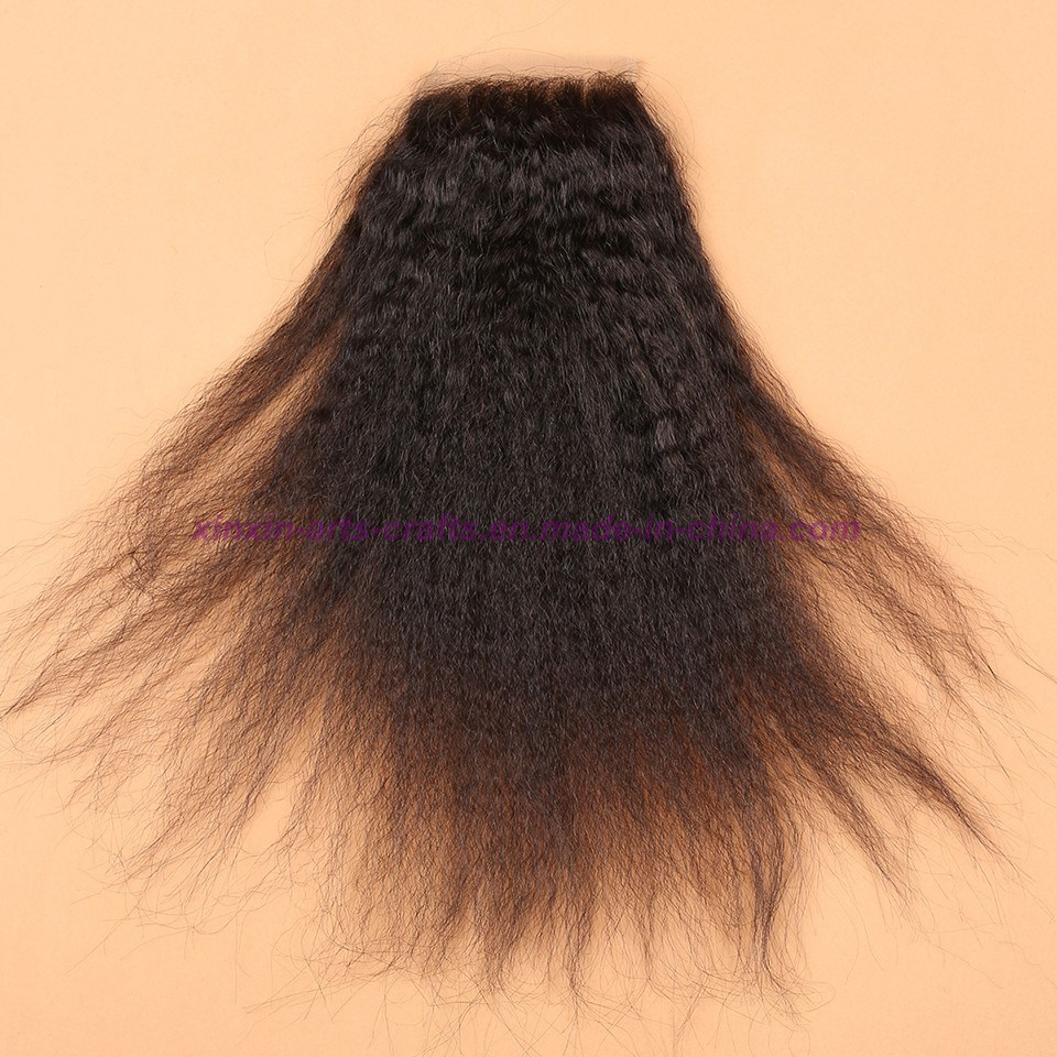 Malaysian Kinky Straight Lace Closure with Baby Hair 4X4 Coarse Yaki Lace Closure