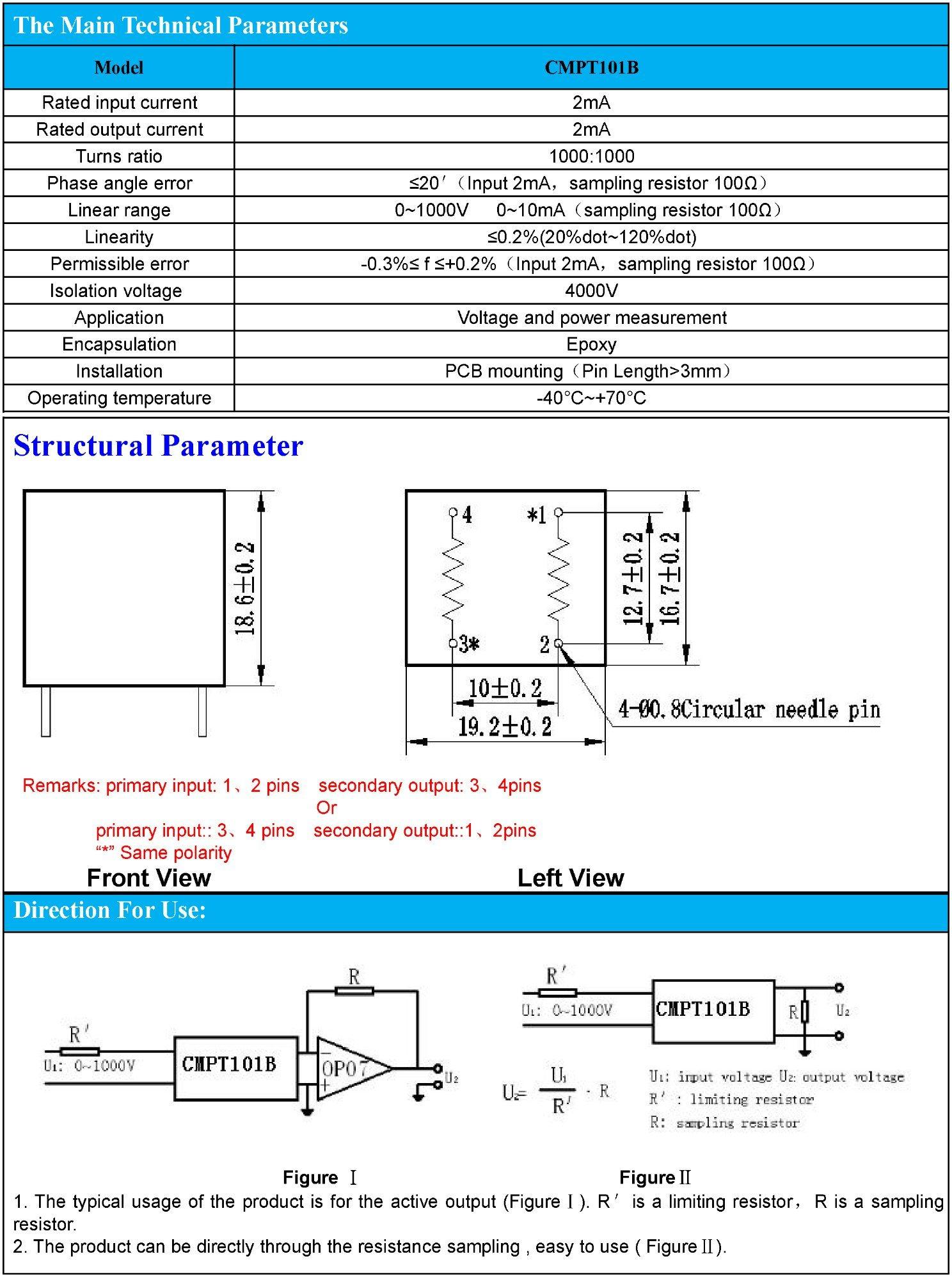 Current-Type Voltage Transformer Potential Transformer 1000: 1000