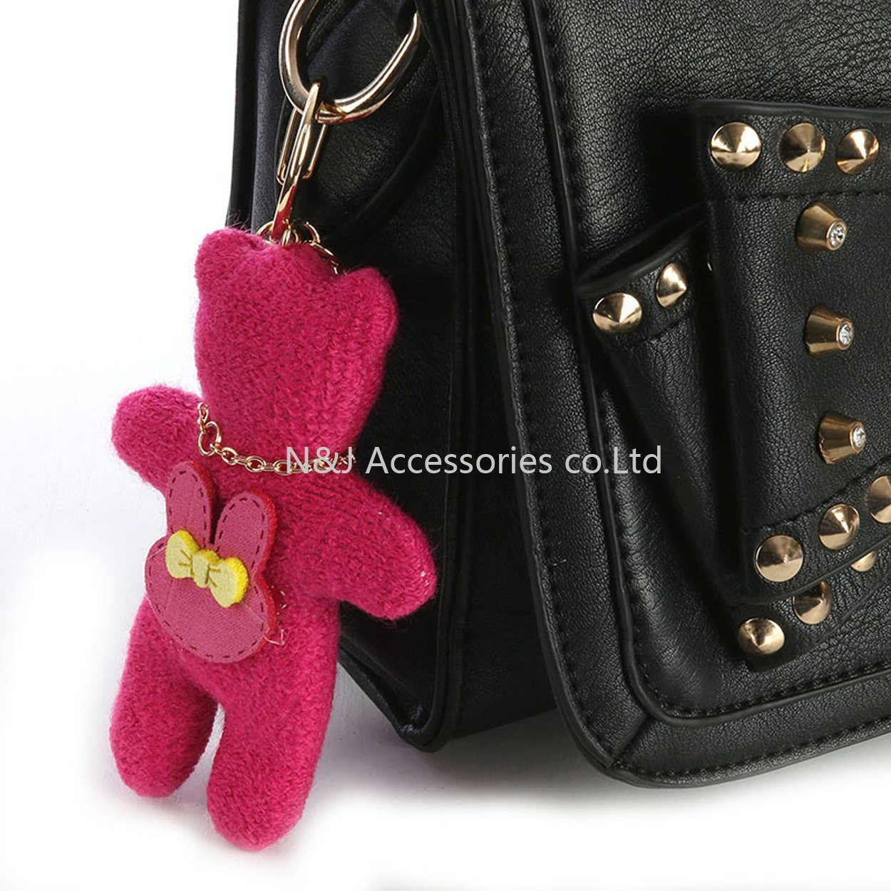Fashion Key Chain Plush Bear Bag Accessory Bunny Tush Woven Pave Crystal Stone for Women Gift