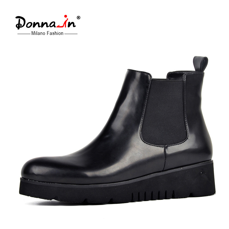 Casual Lady Flats Platform Shoes Patent Leather Women Chelsea Boots