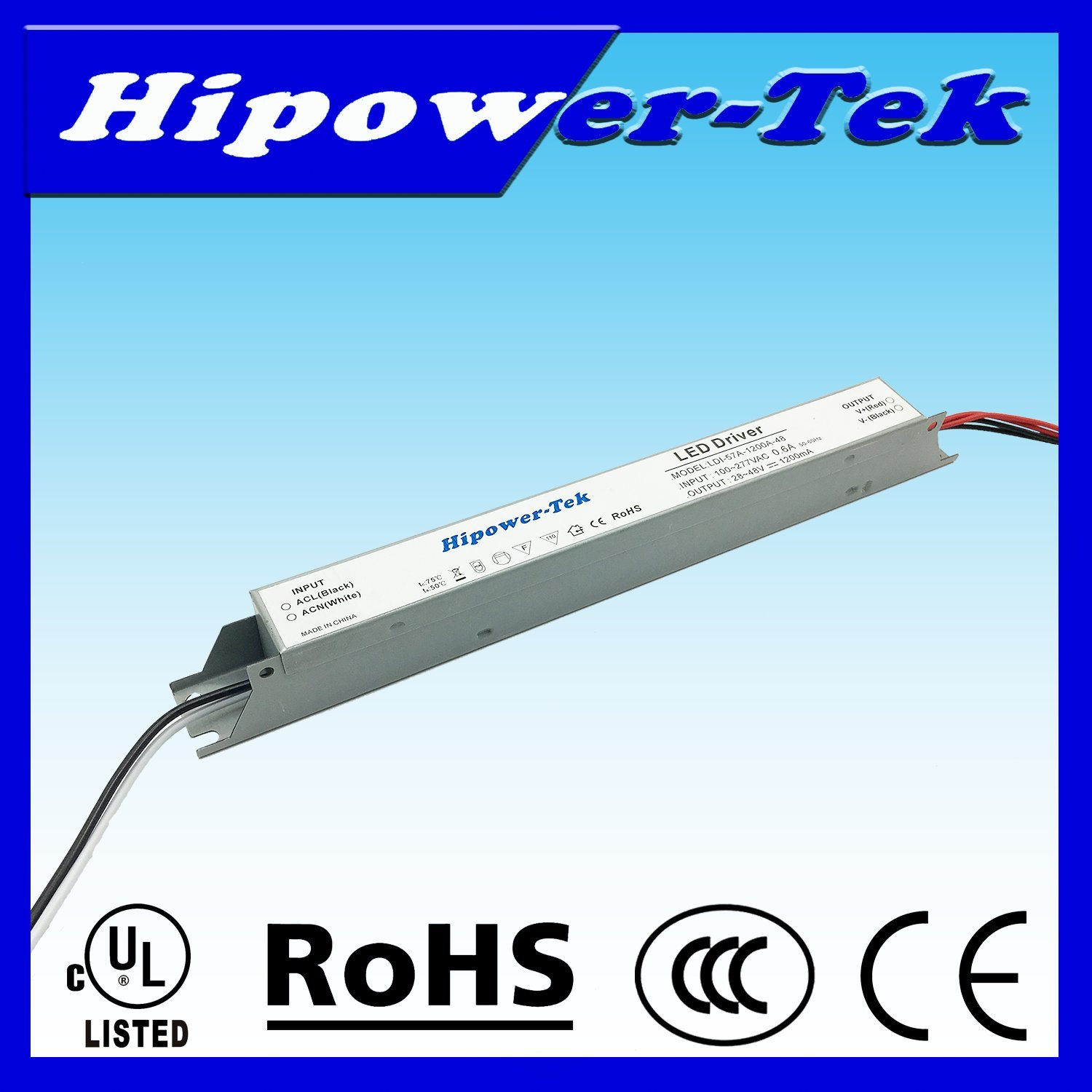 UL Listed 20W-60W Indoor Constant Current LED Driver Long Case