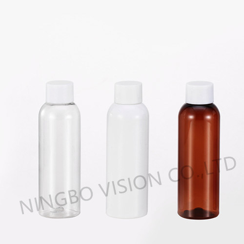 BPA Free Cosmo Round 4oz Clear Pet Plastic Shampoo Bottle
