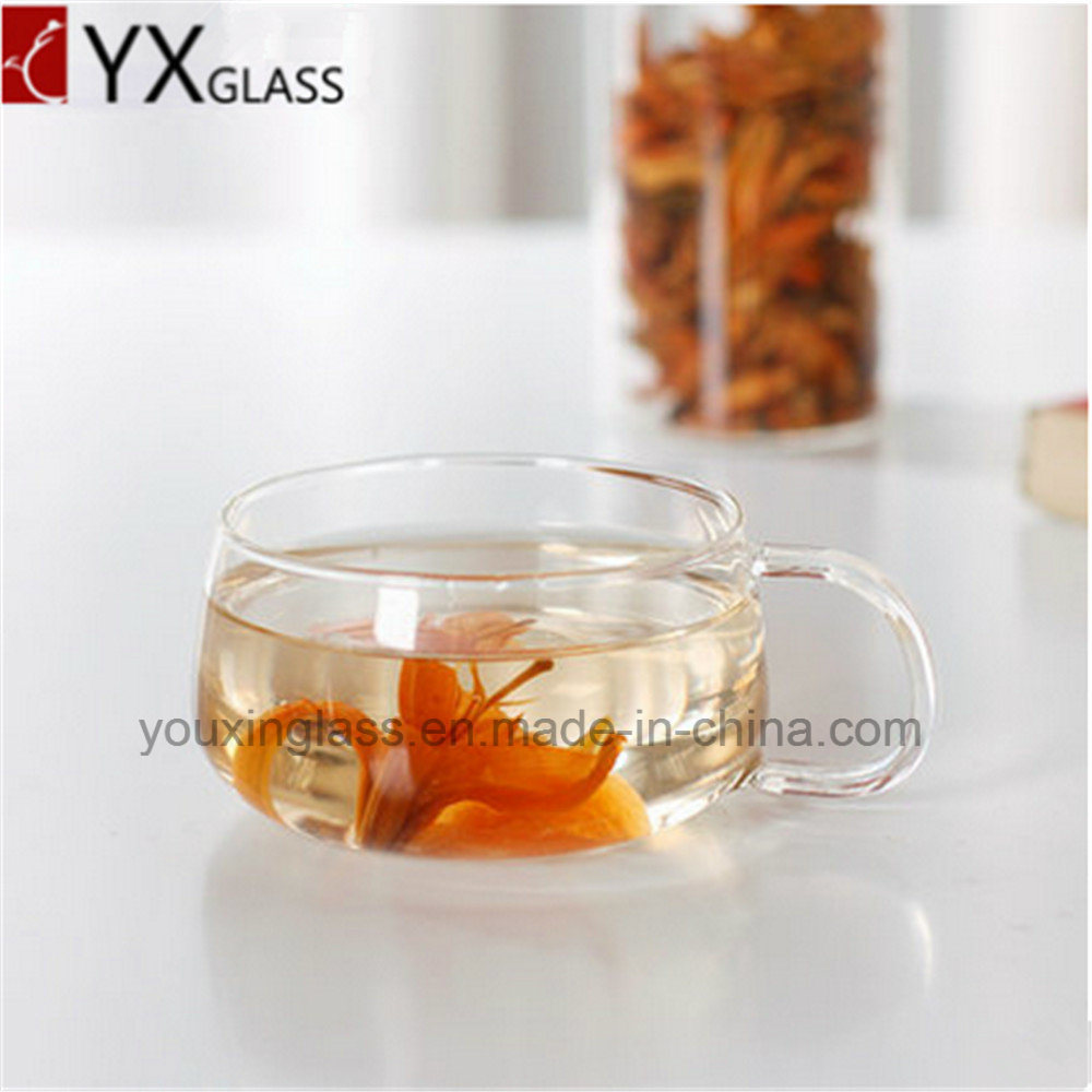 Elegant High Borosilicate Single/Double Wall Glass Coffee Cups Mini Glass Tea Cup and Saucer 220ml