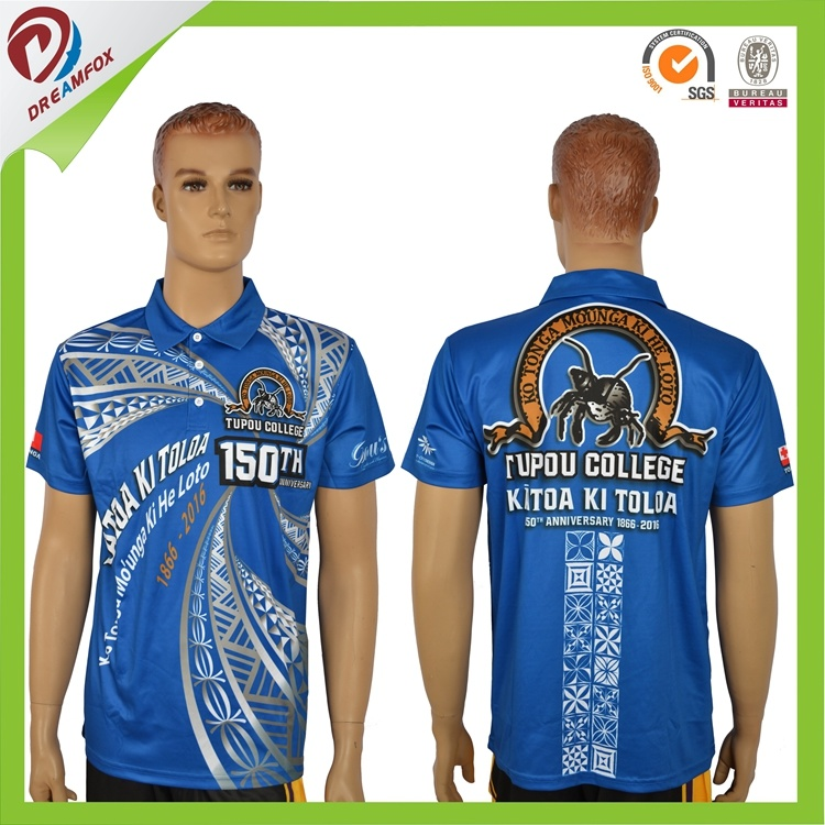 Breathable 100% Polyester Sublimation Print Quick Dry Custom Men Polo Shirt